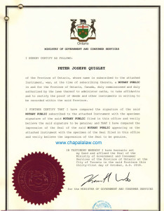 Canada notary certification
